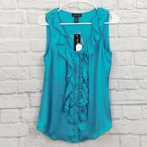 Spense | Teal Ruffle Front Sleeveless Blouse